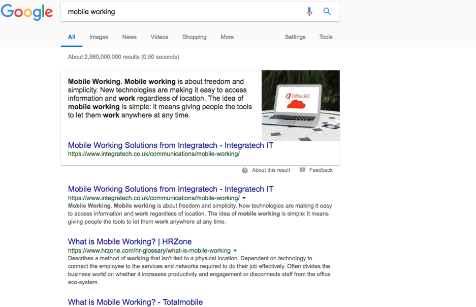 Mobile working SERPs