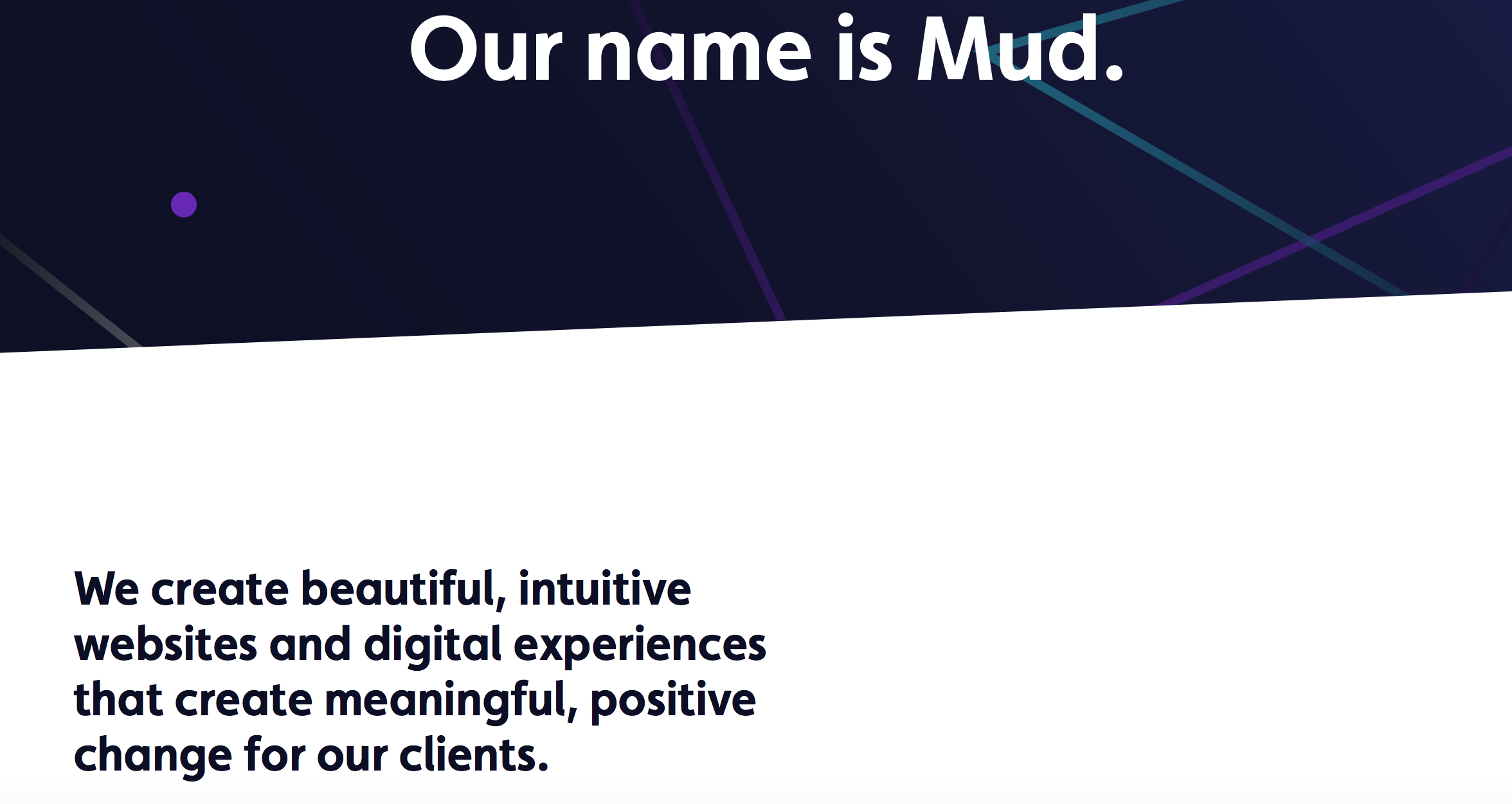 Improve your home page - Mud's home page with clear explanation