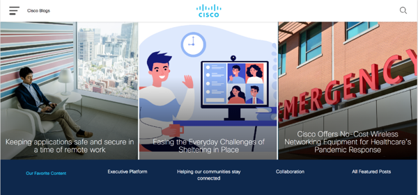 The header of Cisco's blog page