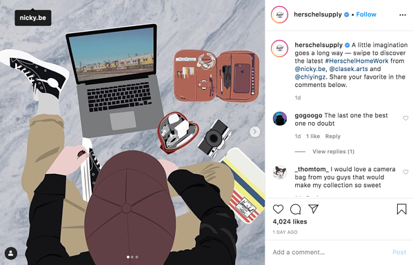 An example of Herschel Supply Co's Instagram engagement with their audience