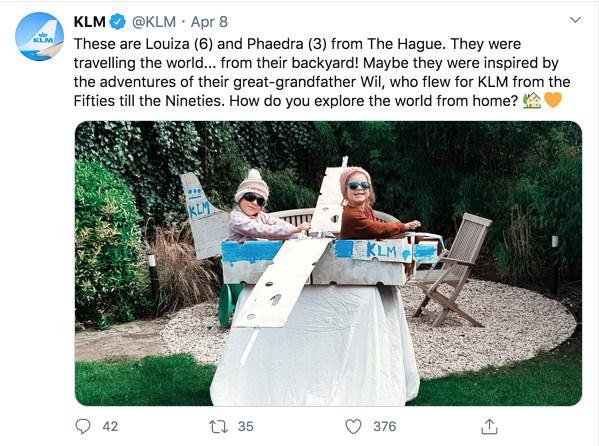 An example of KLM's audience engagement on Twitter