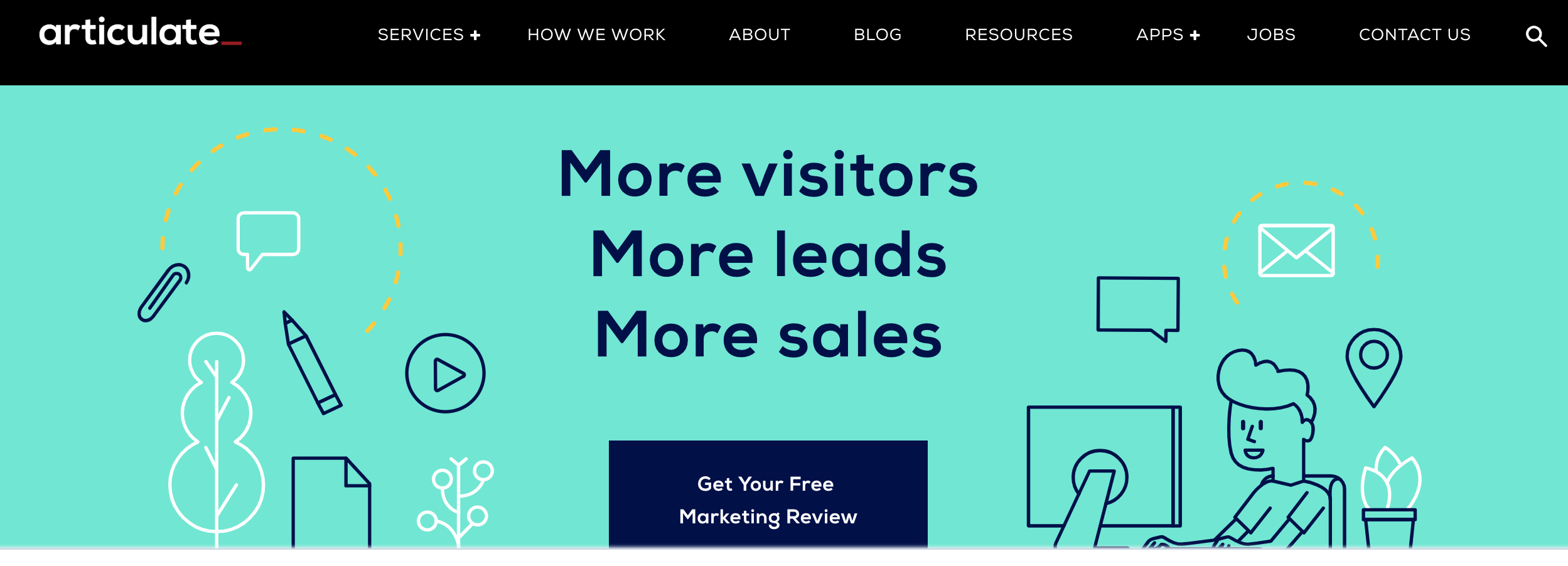 Articulate marketing's home page