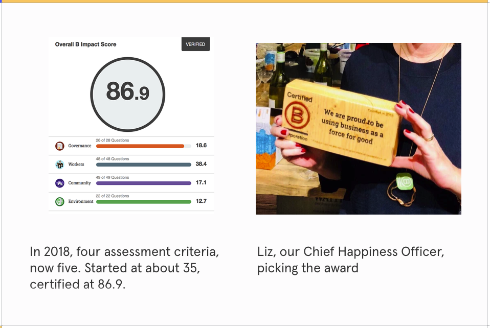 Image of Articulate's B Corp score and award