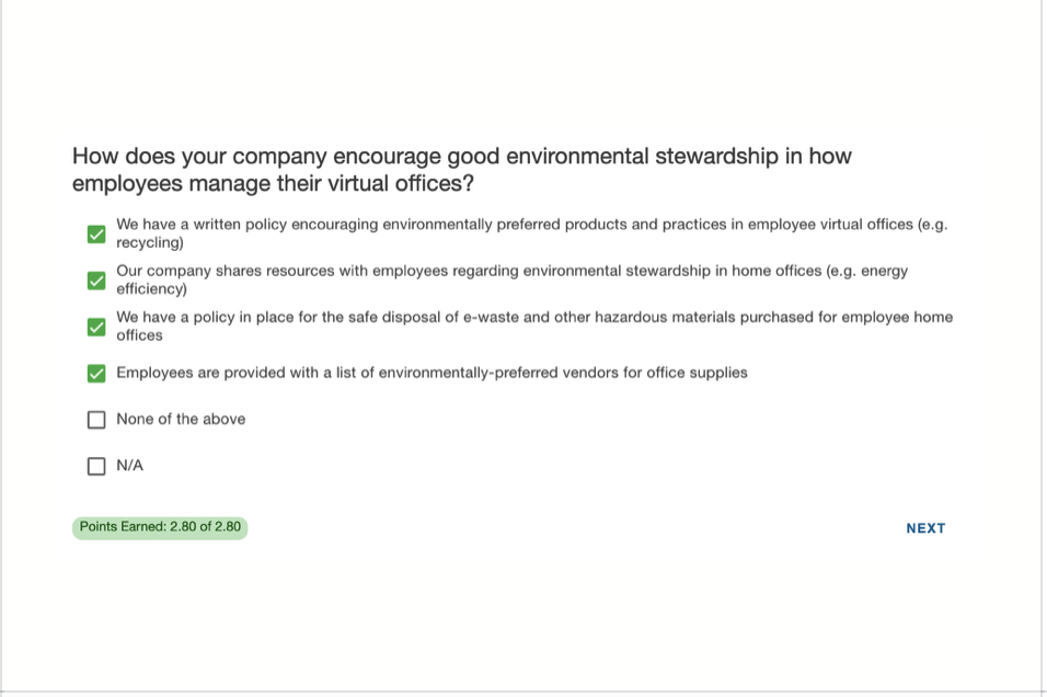 Image of an example question as part of B Corp audit