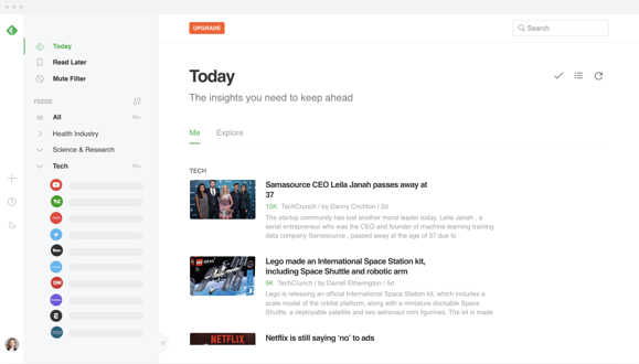 Screenshot of Feedly newsreader