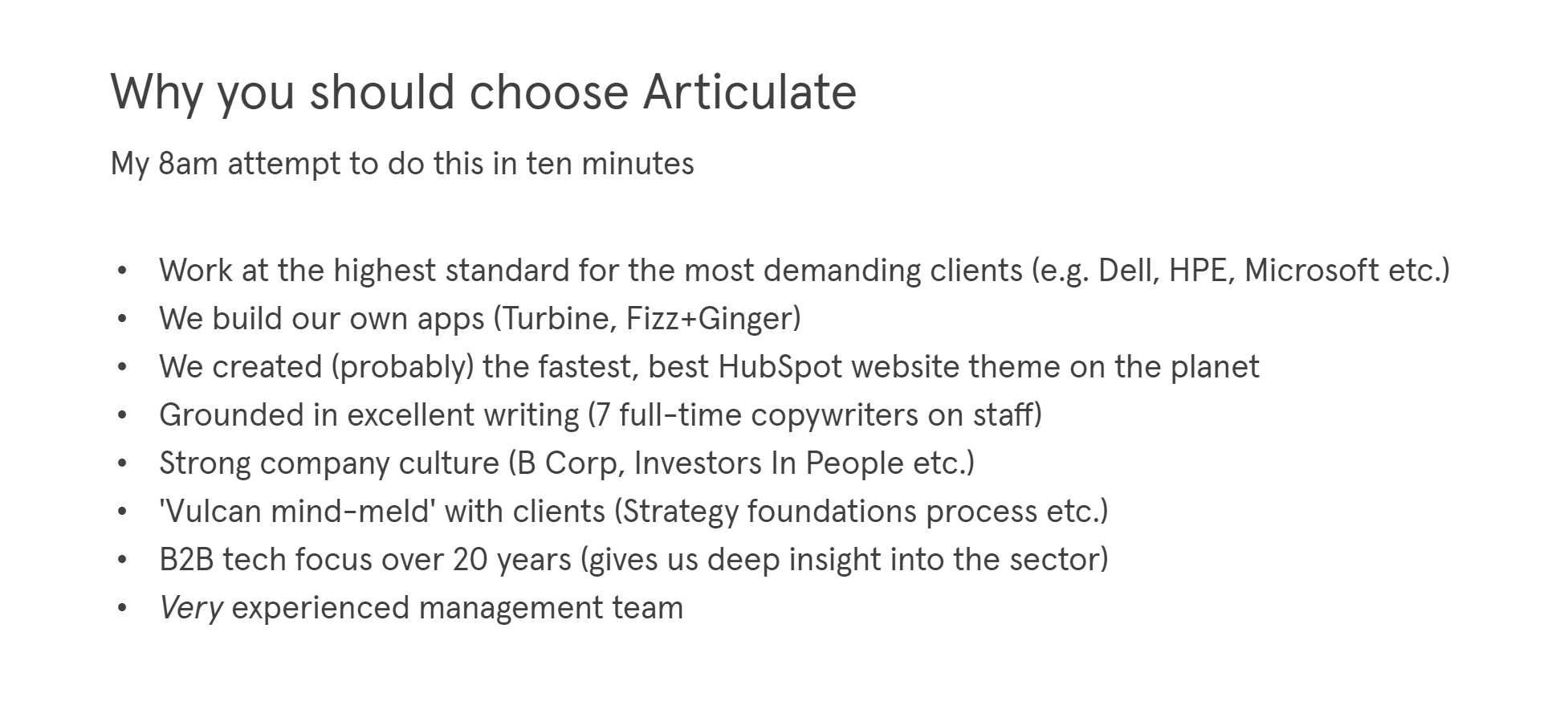 An example of a 'shitty first draft' for why you should choose Articulate marketing