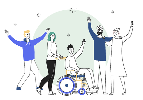 5 ways B Corps are ensuring equality and diversity in the workplace - image of 5 people celebrating.