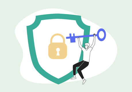The ultimate guide for keeping your contacts' data safe with HubSpot GDPR compliance - illustration of a man with a lock and key