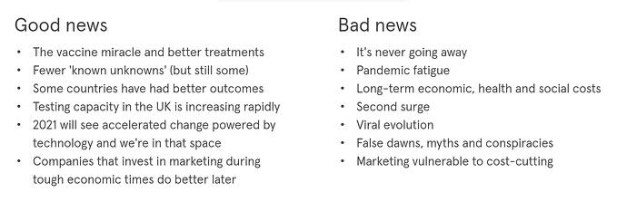 COVID-19 and beyond: scenario planning for marketers - goo vs bad news