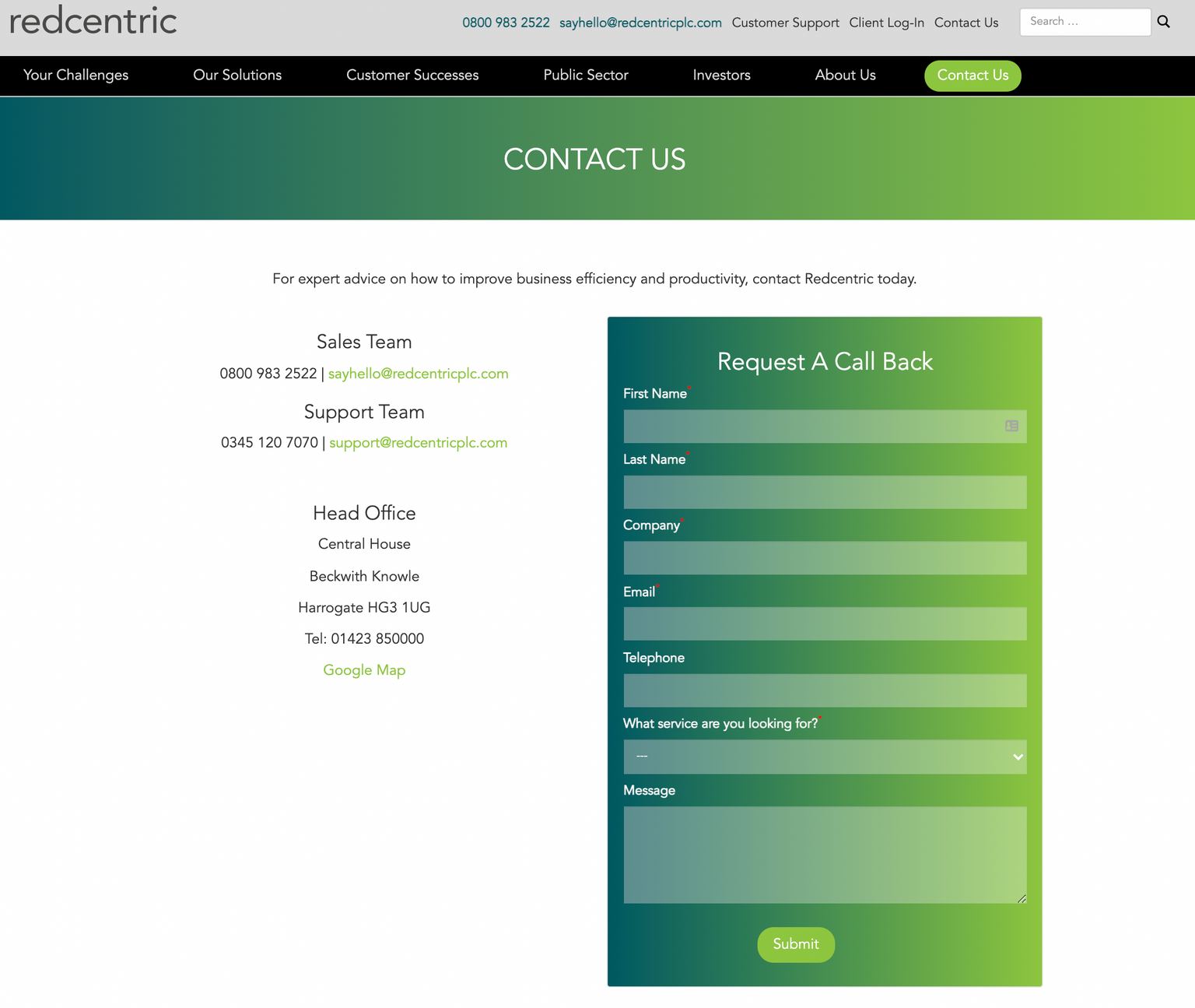 Why your contact page doesn't generate any actual contacts - typical contact page, with contact info and a long form