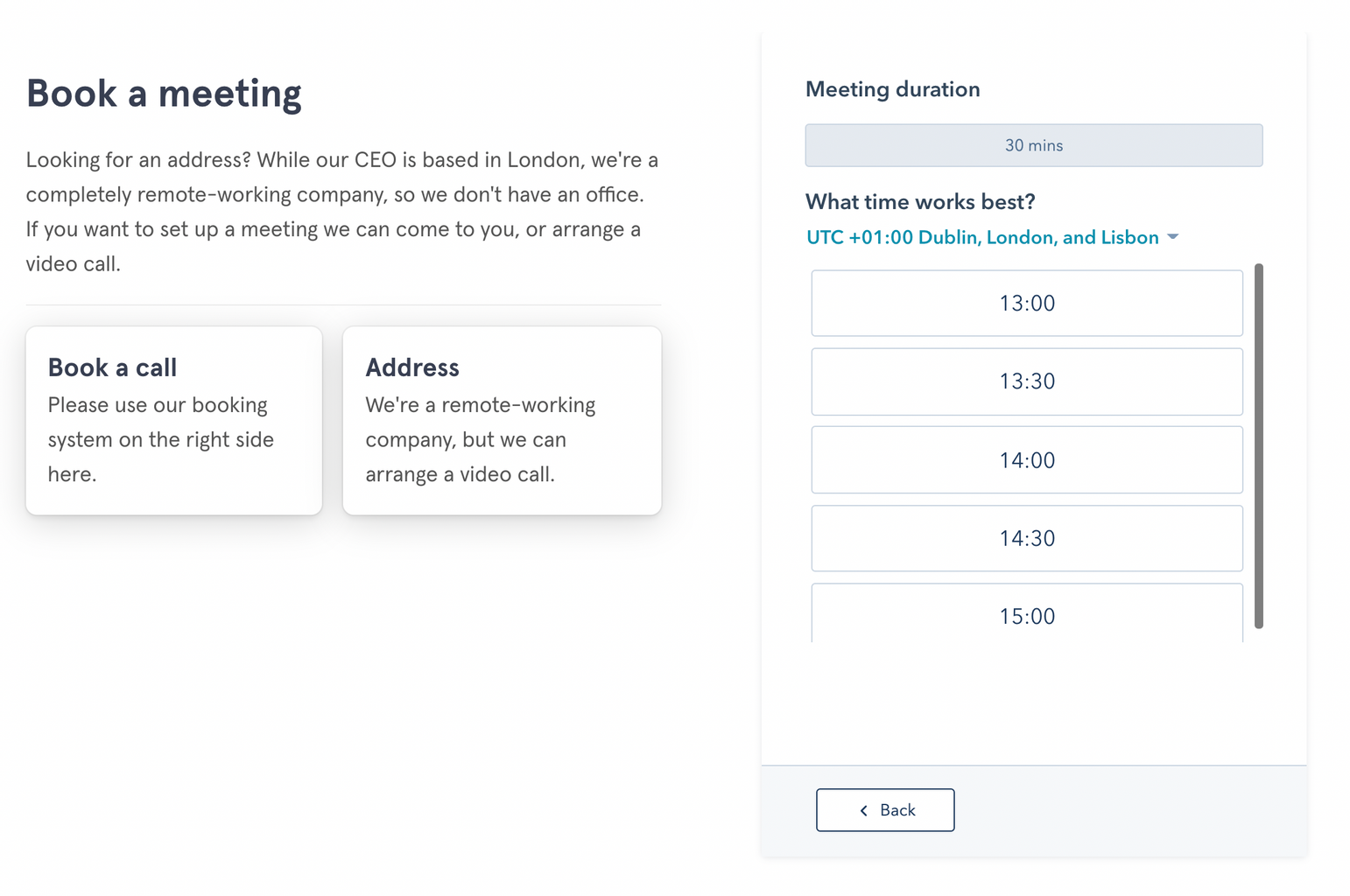 Why your contact page doesn't generate any actual contacts - book a meeting calendar