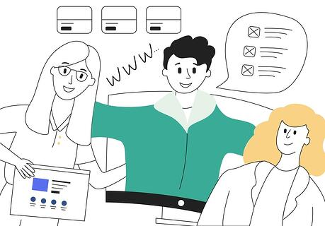 What is a website, anyway? - illustration of 3 people discussing the purpose of websites for business