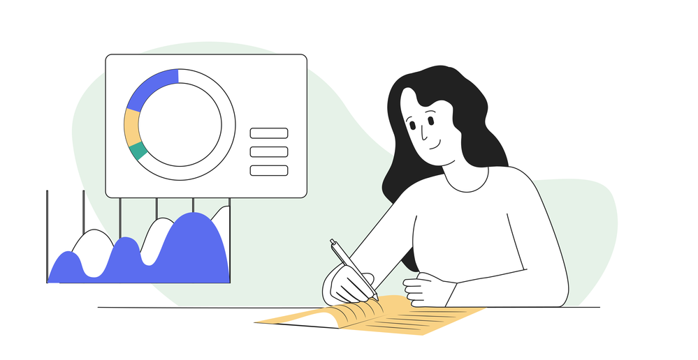 Articulate diagram of a woman writing in a notebook with images of charts beside her