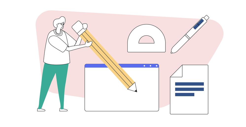 Articulate diagram of a man holding a giant pencil surrounded by other writing tools