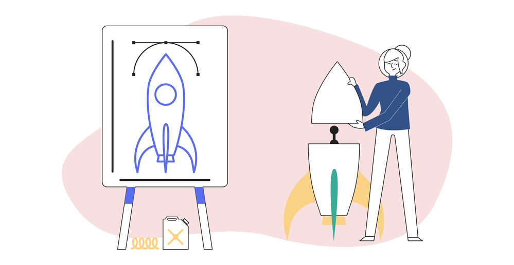 Articulate diagram of a person creating a rocketship while following guidelines from a flipchart