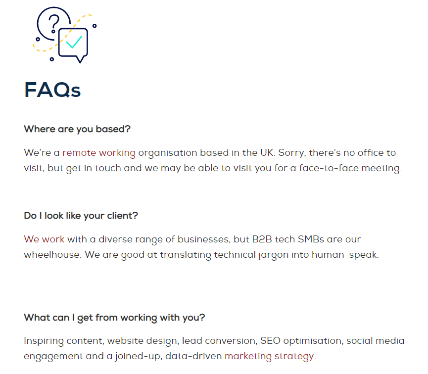 improve contact page design - FAQs