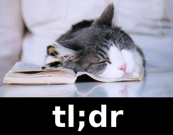 tl;dr (too long didn't read) and a cat asleep