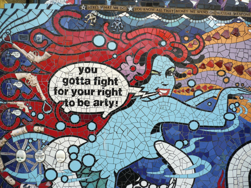 You've got to fight for your right to be arty - says a mermaid in a piece of artwork