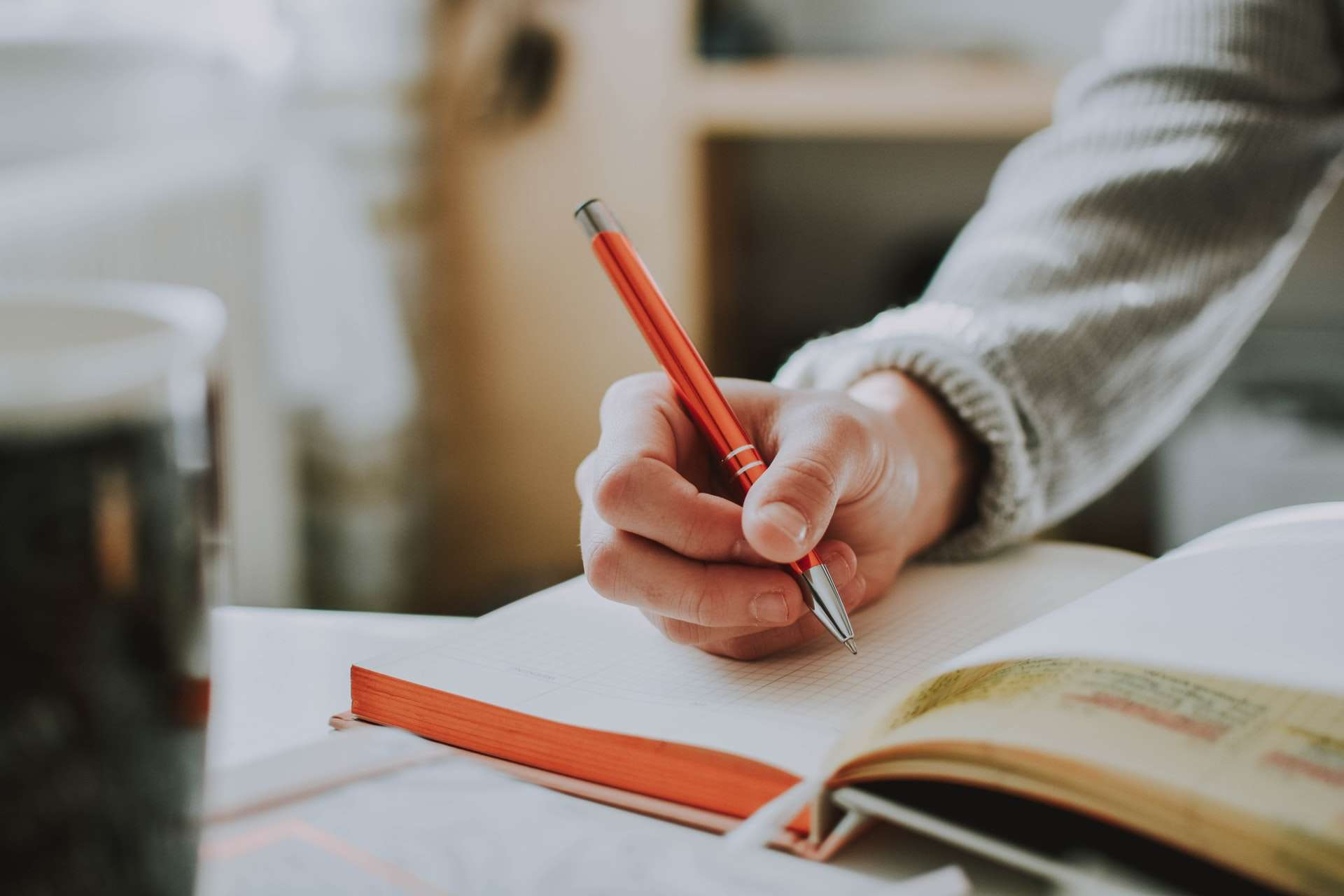 close-up of someone writing in a journal