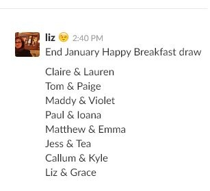 Chief happiness officer breakfast club draw