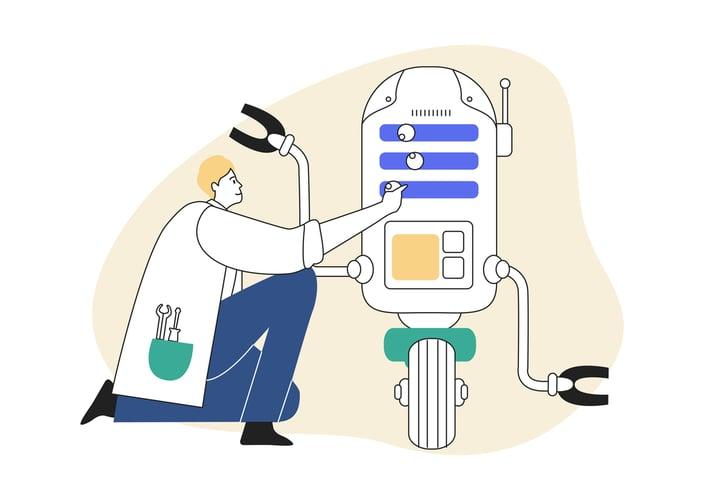 Articulate diagram of a man optimising his website robot