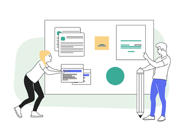 8 clever ways to get more leads from your website - illustration of 2 people designing a website on a large screen