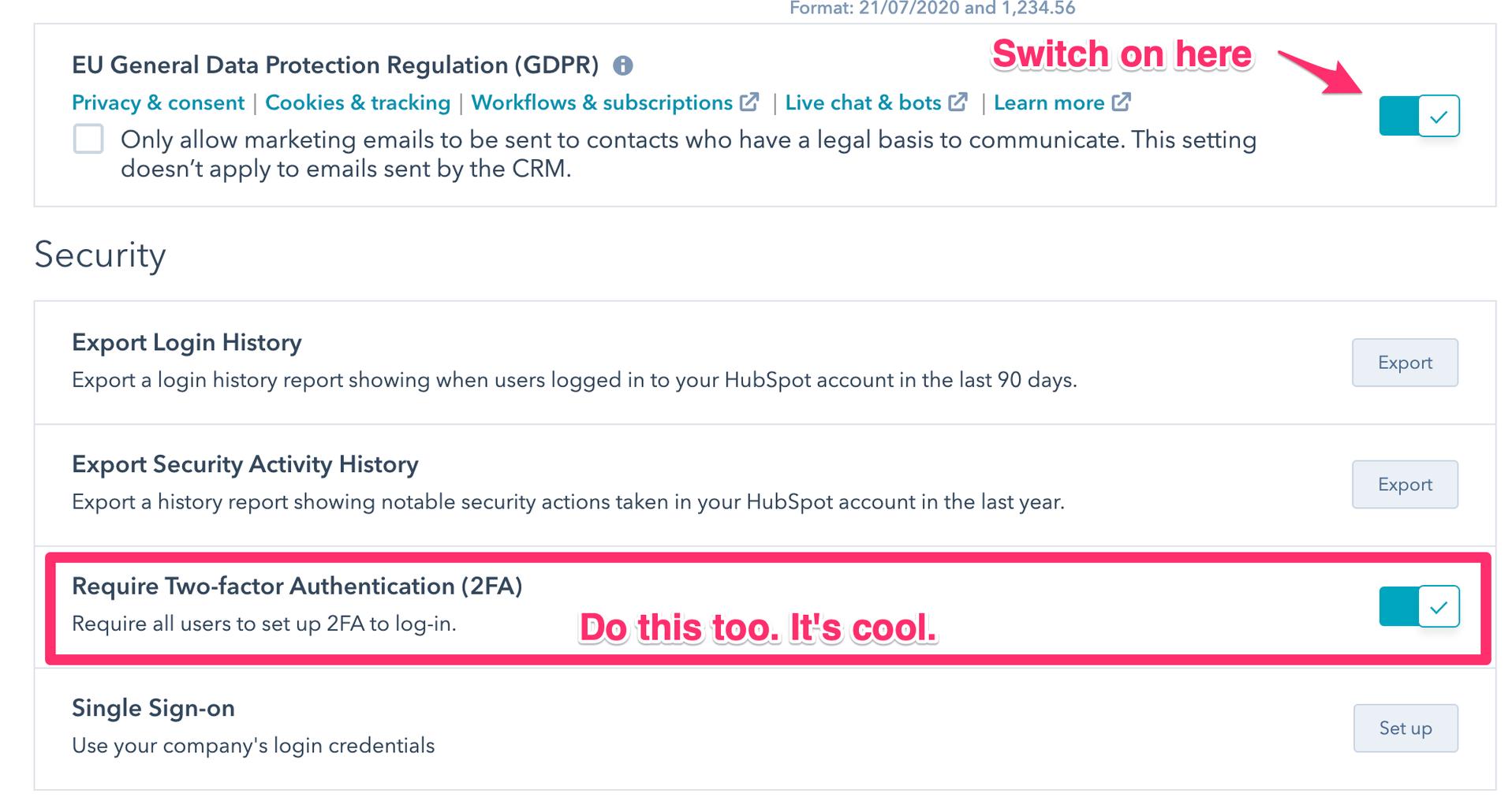 hubspot gdpr compliance 2 - settings