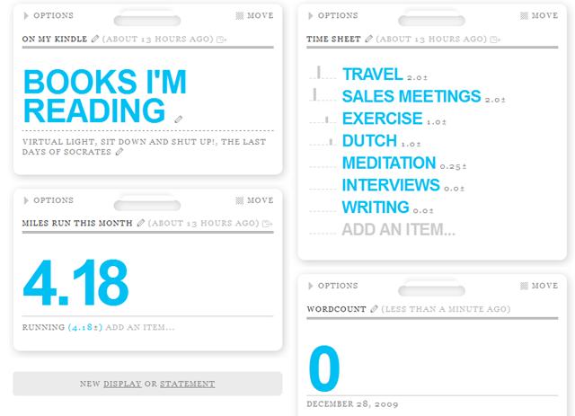 Daytum dashboard - a useful writing tool