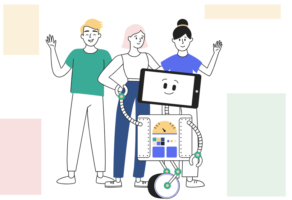 What does it mean to be a better employer? - image of 3 people and Artie the robot in a team