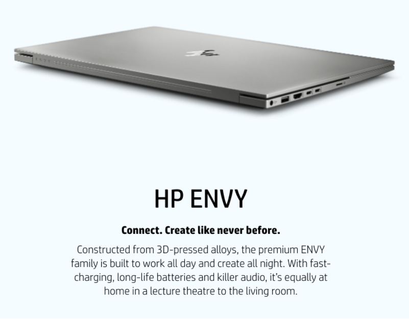 Picture of HP laptop and  bad hype words example