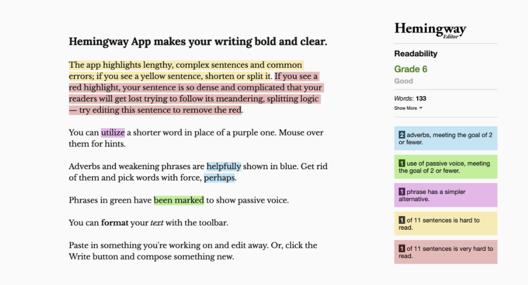 Hemmingwayapp interface (24-step expert proofreading guide + free editing checklist)