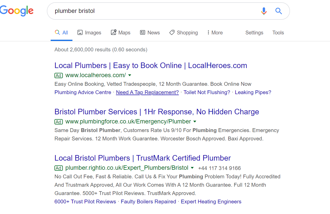 google search plumber bristol (retargeting vs. remarketing)