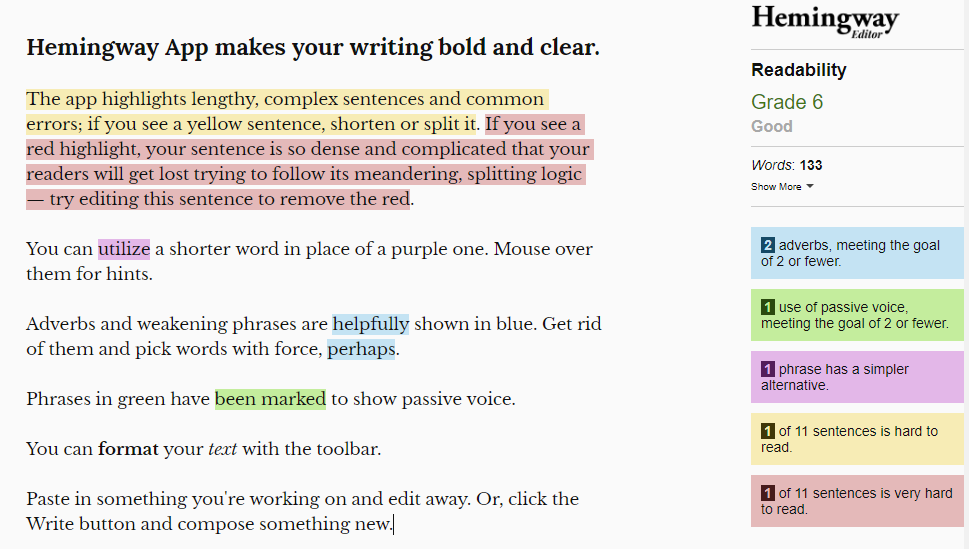 SEO keyword strategy - Hemingway app