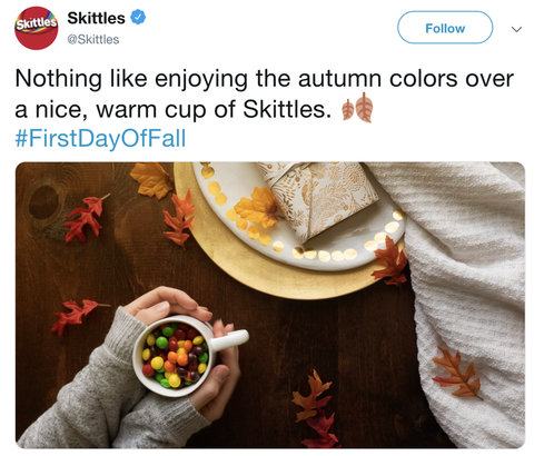 Skittles picture in a tweet