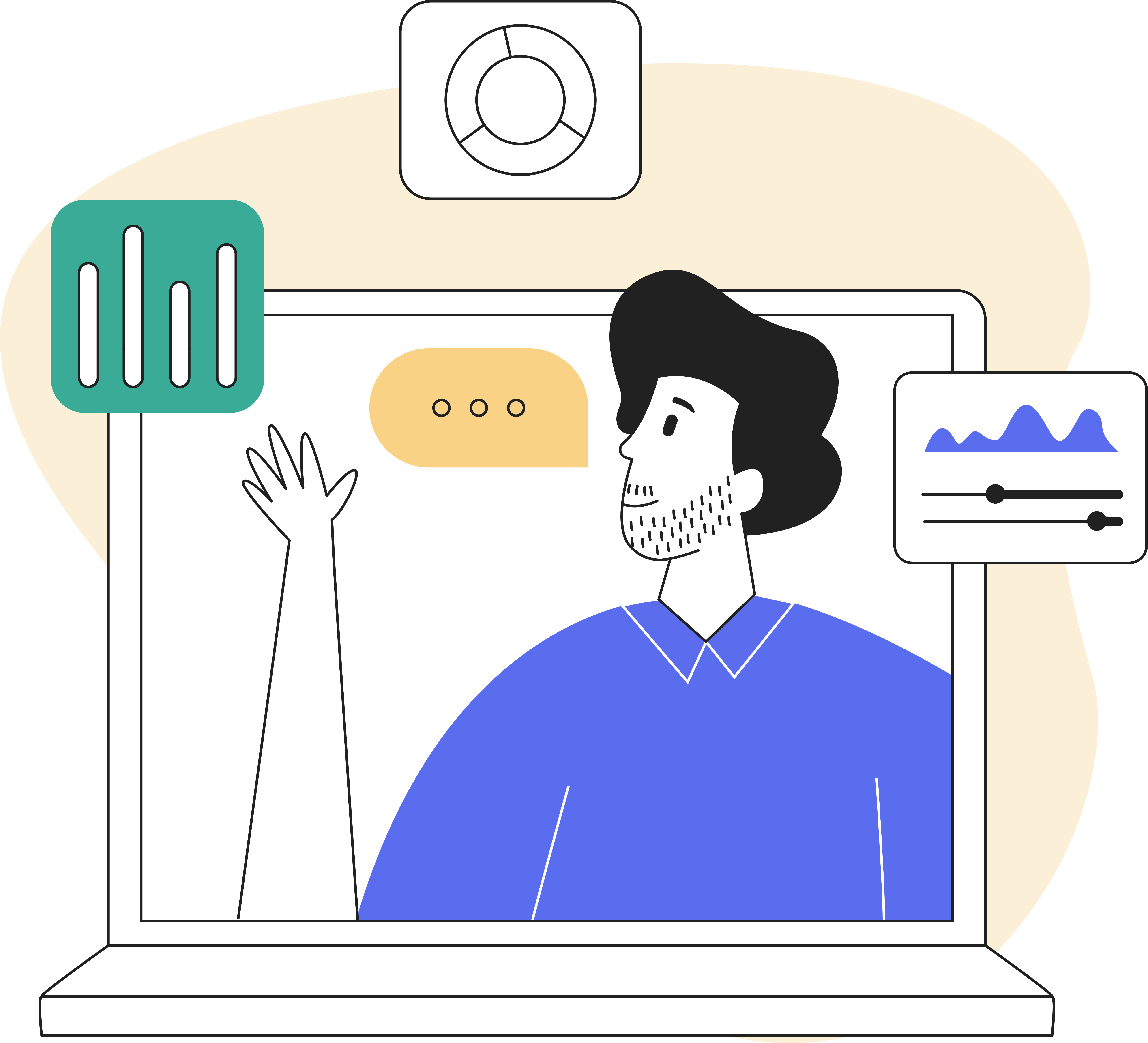 Strategy foundations: how to sharpen your positioning and messaging - Image of a man exploring the wonder of analytics because he has strengthened his position and messaging
