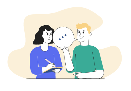 illustration of two people talking - demonstrating thought leadership