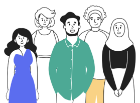why Articulate marketing became a B Corp and what we learned along the way - illustration of a diverse group of people who are all smiling