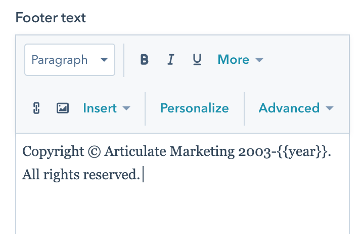 copyright text for articulate marketing in hubspot back-end