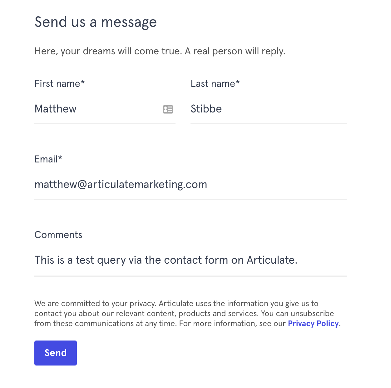 Articulate on-page form
