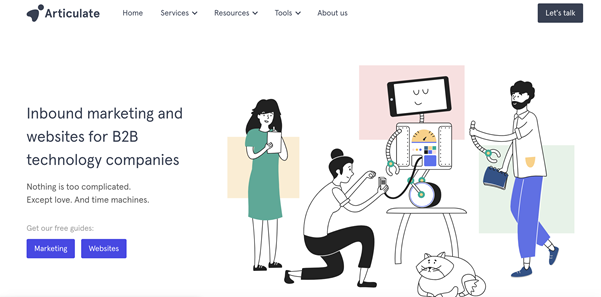 Screenshot of Articulate Marketing's website homepage