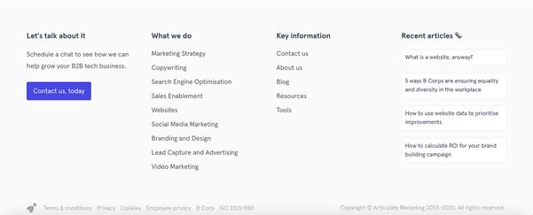 Screenshot of Articulate Marketing's website footer