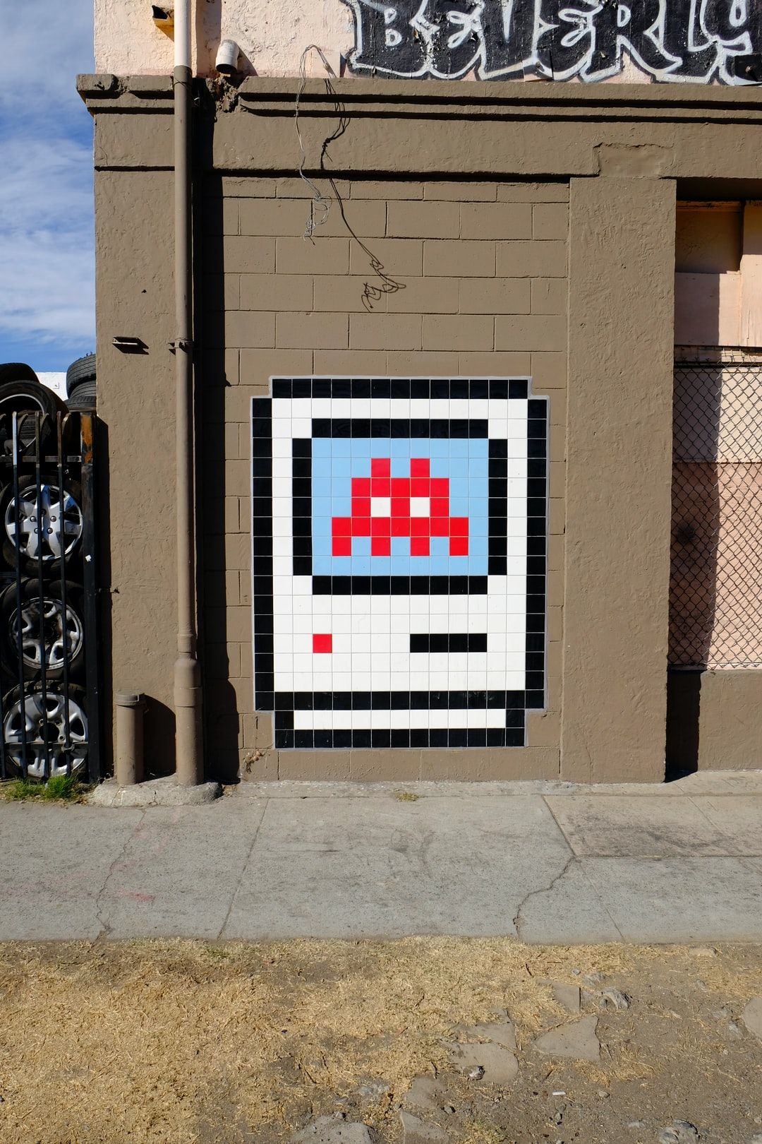 pixelated mural on wall
